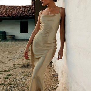 Gold or White Backless Satin Cami Long Slip Dress